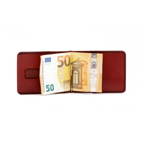 Men Spring Money Clip Wallet Bordeaux