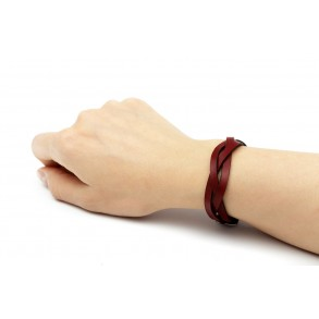 Braided Leather Bracelet Bordeaux