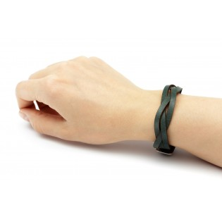 Braided Leather Bracelet Green