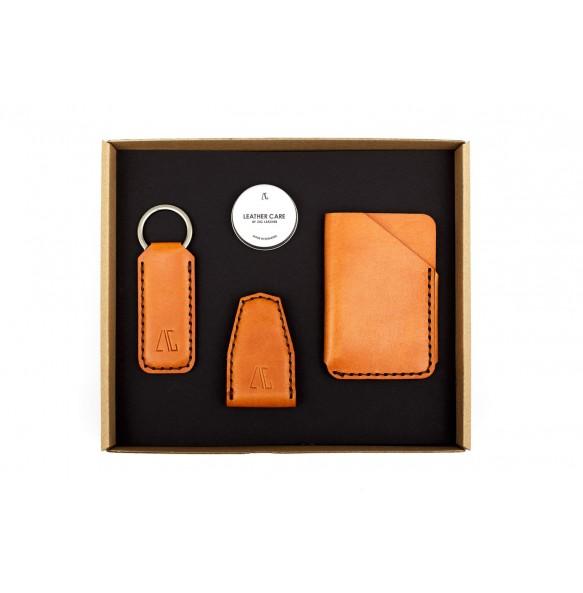 Set Portofel Carduri/Clips Magnetic/Breloc Lat din Piele Naturala