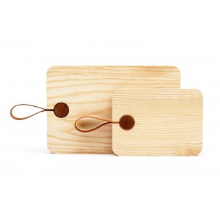 Wood Cutting Board with Leather Strap