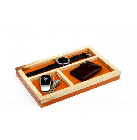 Wood and leather Holder