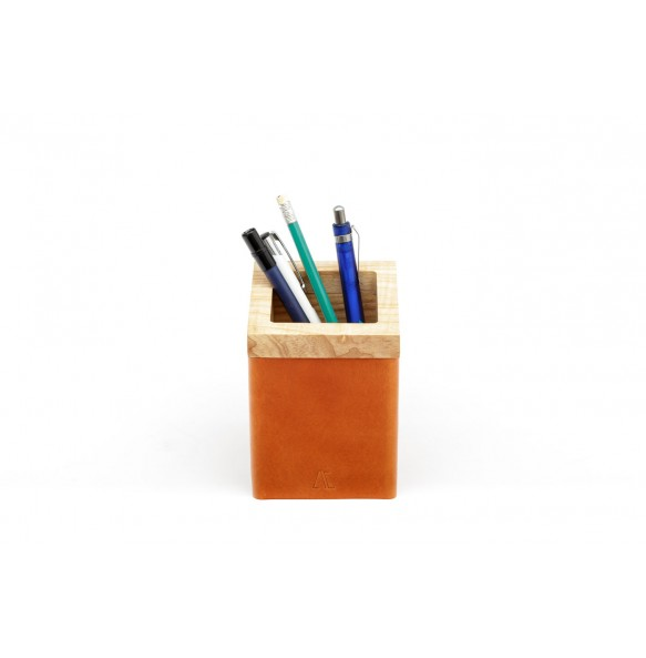 Wood and leather Pen Holder