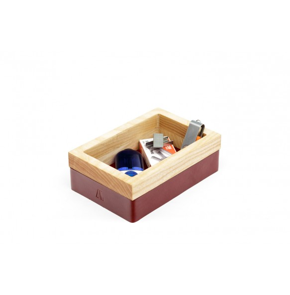 Wood and leather Tray