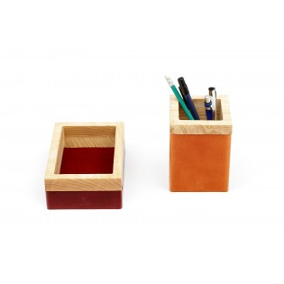 Wood and leather Tray/Pen Holder Set