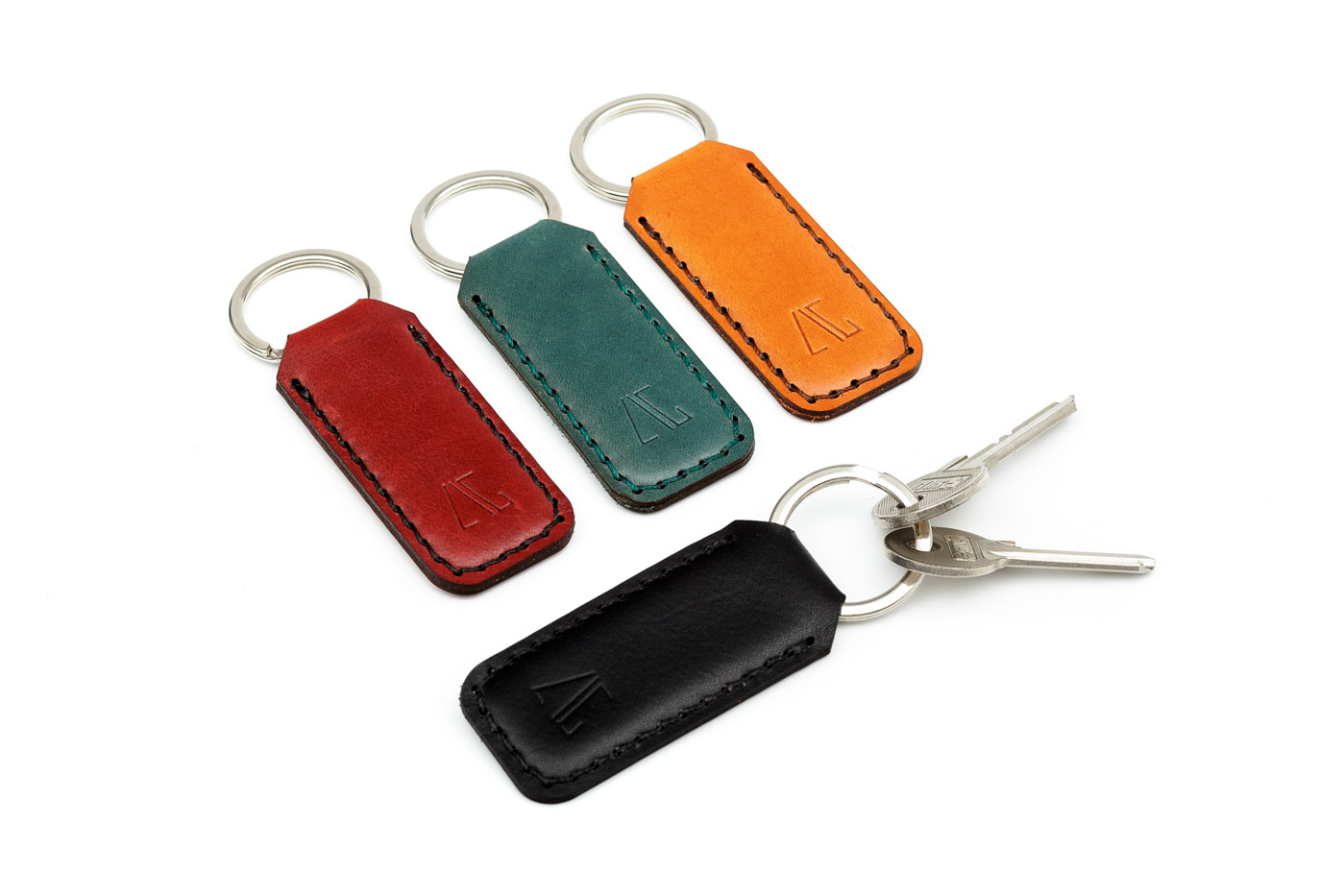 leather keychain in various colors