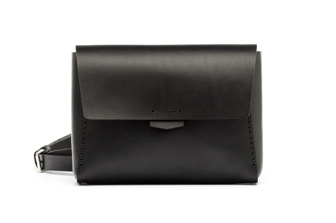 black leather bag and fannypack