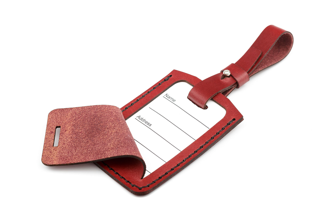 bordeaux leather luggage tag